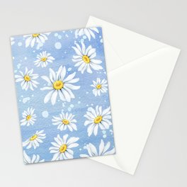 Spring Daisies On Sky Blue Watercolour Stationery Cards