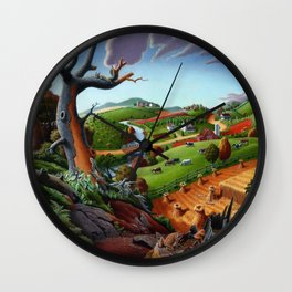 Fall Wheat Harvest Country Farm Life Landscape Wall Clock