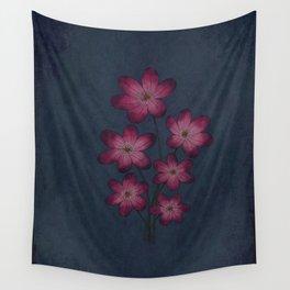 Burgon Wildflower  Lineart Grunge Bohemean Romance  Wall Tapestry