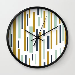 Interrupted Lines Mid-Century Modern Minimalist Pattern in Blue, Mint, and Golden Mustard Wall Clock