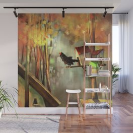 Black bird in the woods Wall Mural