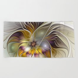 Abstract Fantasy Flower Fractal Art Beach Towel
