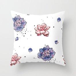Succulents seamless pattern Throw Pillow