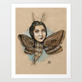 MOTH LADY Art Print