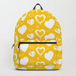Handdrawn Hearts (Yellow/White): an exciting, fresh, fun pattern to light up your day Backpack