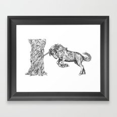 Unicorn and the Tree Framed Art Print