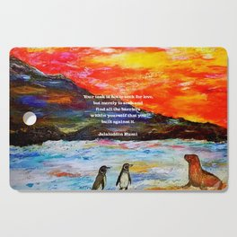 Inspirational Finding Your Love Quote With Penguins Painting Cutting Board