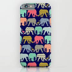 baby elephants and flamingos navy Slim Case iPhone 6s