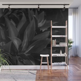 Tropical Jungle Leaves - Black and White Wall Mural