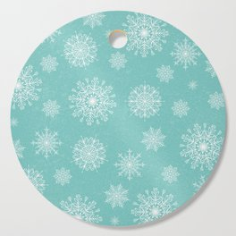 Assorted Snowflakes On Turquoise Backround Cutting Board