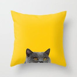 British Short-haired Cat Saffron Yellow Home Decor Pet Lovers Art Grey British Throw Pillow