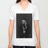 winter soldier V-neck T-shirts featuring Winter Soldier by E Cairns Art