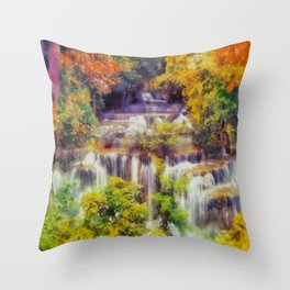Autumn landscape with waterfall Throw Pillow