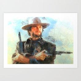 Portrait of Clint Eastwood Art Print