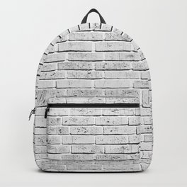 Vintage style rustic white brick wall texture Backpack