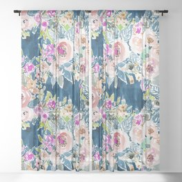 NAVY SO LUSCIOUS Colorful Watercolor Floral Sheer Curtain