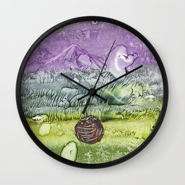 Cat smile- abstract watercolor landscape monotype Wall Clock