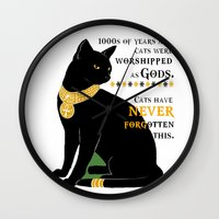 egyptian Wall Clocks featuring Egyptian Cat by GrOoVy Photo Art