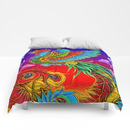 Colorful Fenghuang Chinese Phoenix Rainbow Bird Comforters