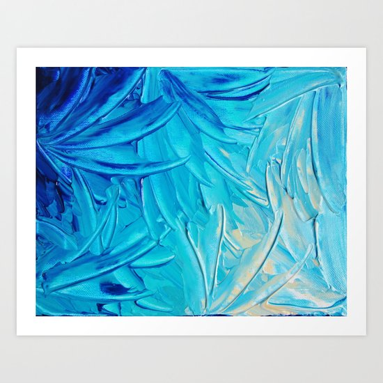 WATER FLOWERS - Beautiful Water Ocean Theme Shades Blue Floral Modern Design Abstract Painting Art Print