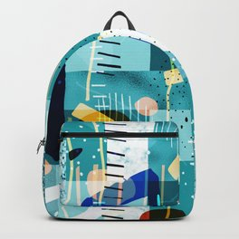 Abstract colorful geometric shapes collage Backpack