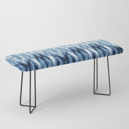 Blue Satin Shibori Argyle Bench