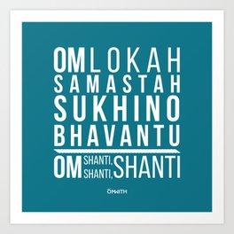 Lokah Samastah Mantra Yoga Blue Art Print