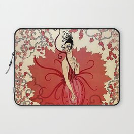 "Delightful Art Deco Illustration ""Blossoms"" Laptop Sleeve"