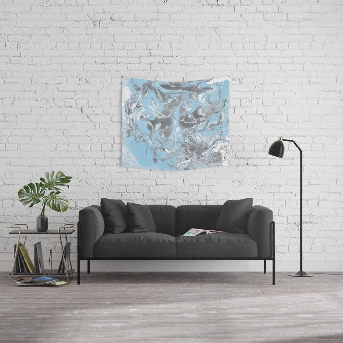 Cyan and grey Marble texture acrylic Liquid paint art Wall Tapestry