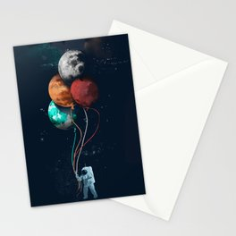 Balloon astronauts and planet Stationery Cards