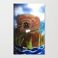 beaver Canvas Prints featuring Beaver by LorraineImwoldart