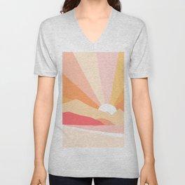 Sunny Coastal Retro Rainbow Unisex V-Neck