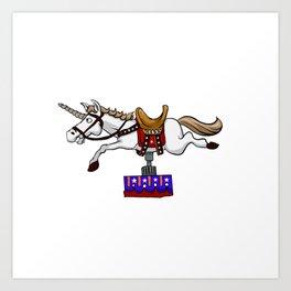 illustration of mechanical unicorn Art Print