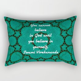 Believe In Yourself Uplifting Inspirational Quote With Green Tribal Design Rectangular Pillow