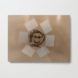 Wads and Walls Exhibit: Happy Faced Wad of String Metal Print