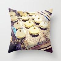 macaron Throw Pillows featuring macaron by inourgardentoo