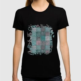 Nostalgic Patchwork Pattern Teal And Pink T-shirt