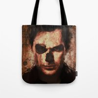 dexter Tote Bags featuring Dexter by Sirenphotos
