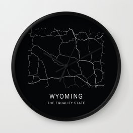 Wyoming State Road Map Wall Clock