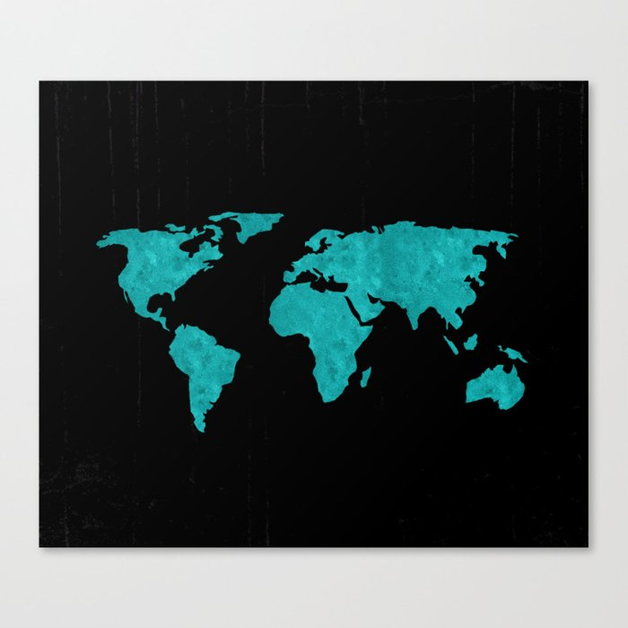 Teal Cyan Metallic Foil Map on Black Canvas Print