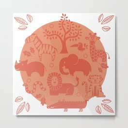 Zoo Animal Patten in Coral Metal Print