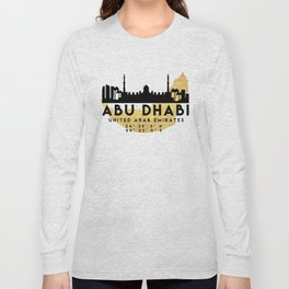 ABU DHABI UNITED ARAB EMIRATES SILHOUETTE SKYLINE MAP ART Long Sleeve T-shirt