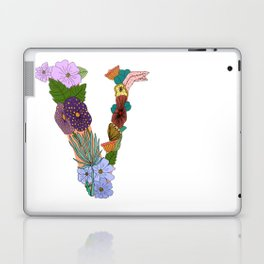 Floral Letter V Laptop & iPad Skin