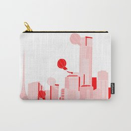 Melbourne City Skyline in Pink and Red Carry-All Pouch
