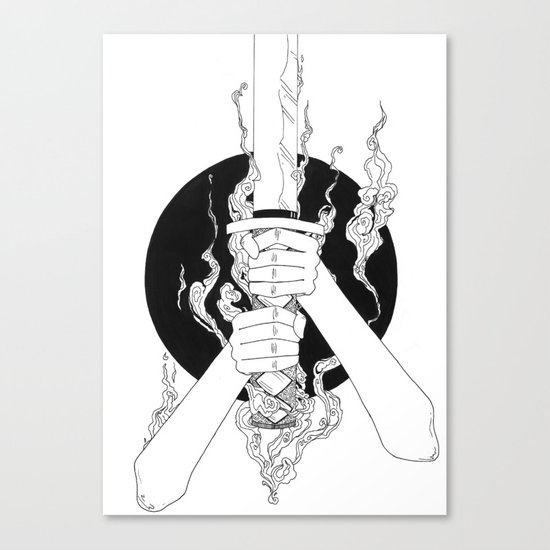Samurai Spirit (Original Sketch) Canvas Print