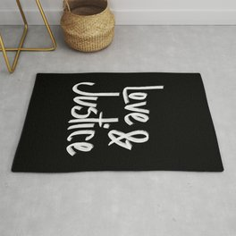 Love and Justice in Black White Rug