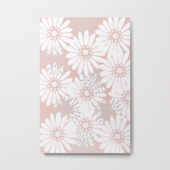 Summer Flowers Pink Metal Print