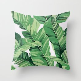 Tropical banana leaves V Throw Pillow