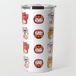 Colorful Maneki - neko pattern design Travel Mug