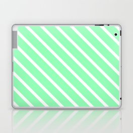 Mint Diagonal Stripes Laptop & iPad Skin